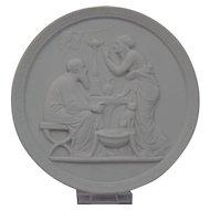 Bisque Parian Porcelain Plaque Royal Copenhagen 20th Century Representing Old Age-Winter Ornate Border