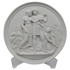 Large Bisque Parian Porcelain Plaque Bing and Grondahl 19th Century Representing Youth-Summer