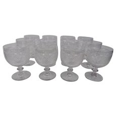 Blown Glass Crystal Goblets Hand Cut Vibrant Diamond Pattern Set Of 12