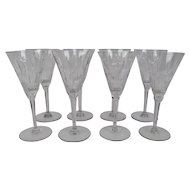 Tall Blown Glass Crystal Goblets Hand Cut Vibrant Pattern Set Of 8