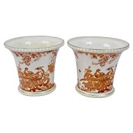 Red Aves Cachepots Pair Gilding Details Royal Crown Derby England
