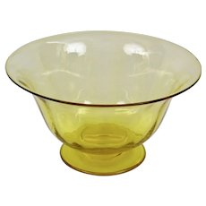 Steuben Glass Carder Era Yellow Footed Small Dish Compote Optic Ribbed Pattern