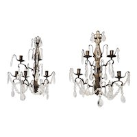 Bronze Sconces With Glass Prisms Louis XVI French Style 5 Candle Burning Pair