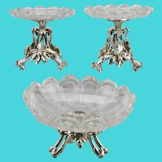 Christofle Silver Plated Baccarat Crystal Tazza Compote Set Fruit Nut Motif c.1860 France