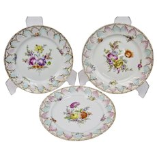 Hand Painted Floral Motif Plates Set Of Three Meissen Style