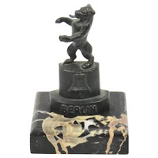 Berlin Germany Bear Bronze Statue Figure Paperweight Marble Base Tourist Art