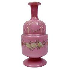 Pink Cased Glass Bottle With Enamel Floral Garland Motif