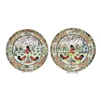 Chinese Export Porcelain Small Plates Pair Hand Painted Chicken Rooster Details