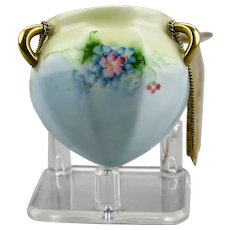 Miniature Hanging Porcelain Jardiniere Pot Hand Painted Floral Motif Gilded Details Metal Chains