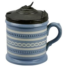 Blue And White Mustard Pot With Hinged Pewter Lid Mettlach Style 19th Century