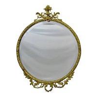 French Style Round Gilded Metal Framed Beveled Mirror Fine Ornate Details