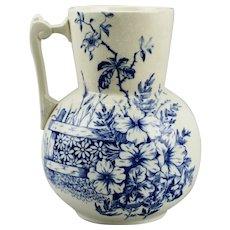 Blue Transfer Ware Pottery Pitcher Jug Floral Motif