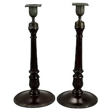 English Georgian Style Carved And Reeded Mahogany Candlesticks With Bronze Fittings