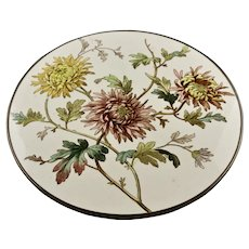 Chrysanthemum Pattern Transfer Ware Pottery Cake Stand Pewter Colored Finish