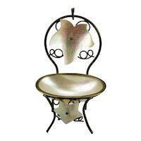 Pocket Watch Holder Chair Motif Mother Of Pearl Grand Tour Palais Royal Paris France Souvenir