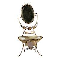 Footed Trinket Dish With Beveled Mirror Grand Tour Era Palais Royal Paris France MOP Souvenir