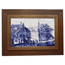 Dutch Street Canal Scene Blue Transfer Image On Tiles Framed