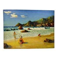 John Goossens Seascape Beach Bathers Oil Painting c.1954 Mohawa Bay, Manzanillo Mexico