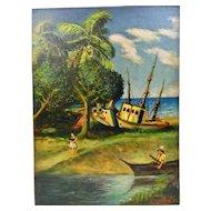 John Goossens Landscape Oil Painting On Board c.1955 Low Tide San Blas Mexico