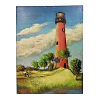 John Goossens Landscape Oil Painting On Board c.1956 Old Jupiter Lighthouse Florida