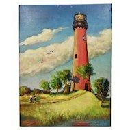 John Goossens Landscape Oil Painting On Board c.1956 Old Jupiter Lighthouse Florida