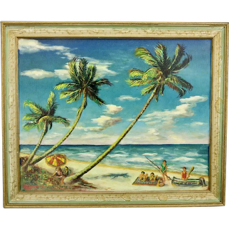John Goossens Beach Landscape Oil Painting On Board c.1957 Florida Titled Sand Sea And Sunshine