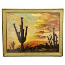 John Goossens Desert Sunset Saguaro Cactus Landscape Oil Painting c.1958 Titled Desert Glow