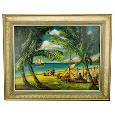 John Goossens Landscape Seascape Oil Painting Fisher Folk San Blas Mexico c.1956