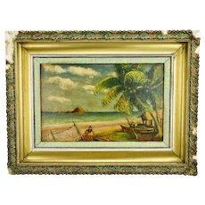 John Goossens Landscape Seascape Oil Painting Pacific Shore San Blas Mexico c.1955