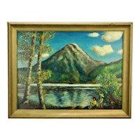 John Goossens Landscape Oil Painting Mountain View Lake Chapala Mexico c.1954