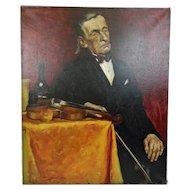 John Goossens Portrait Oil Painting c.1930 Violinist At Rest