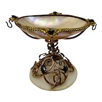 Grand Tour Era Ornate Detailed Footed Dish Marble Base Palais Royal Paris France MOP Souvenir