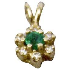 Emerald And Diamonds Pendant 14K Gold Setting Petite In Size