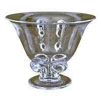 Steuben Glass Bowl Vase with Foliated Base