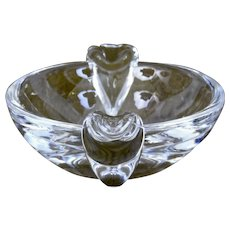 Steuben Glass Ashtray with Crimped Handles