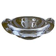 Steuben Glass Ashtray Dish Crimped Handles