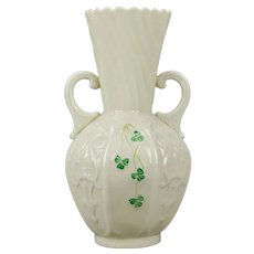 Belleek Ireland Panel Vase Two Handles Hand Painted Green Clover 7th Mark Gold 1980-1992