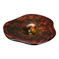 Hand Blown Orange Gold Glitter Murano Glass Dish Triangular Flared Flat Rim Form