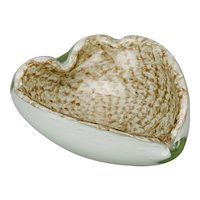 Hand Blown Copper Glitter Over White Cased Murano Glass Dish Ashtray Heart Shaped Bullicante Bubbles Pattern Form