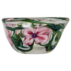 Art Glass Cased Bowl Pink Floral Ivy Motif Hand Blown