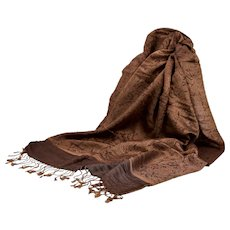 Pashmina 70% Cashmere 30% Silk Brown On Brown Jacquard Paisley Shawl Wrap Scarf Never Worn