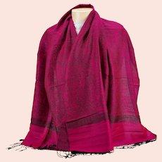 Pashmina 70% Cashmere 30% Silk Fuchsia On Black Jacquard Paisley Shawl Wrap Scarf Never Worn