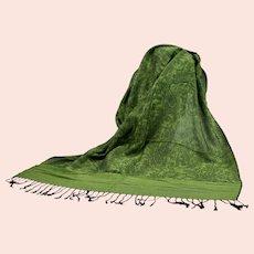 Pashmina 70% Cashmere 30% Silk Green & Black Paisley Pattern Shawl Wrap Scarf Never Worn