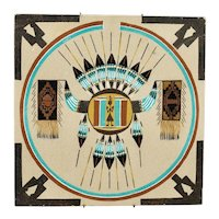 Sand Painting Native American Navajo Sun Shield Motif On Board With Hanging Wire