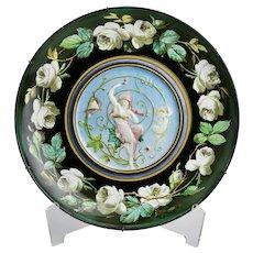 Faience Plate Maiden Cherub Roses Motif Creil et Montereau Lebeuf Milliet & Co. France c.1870's