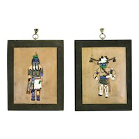 Native American Hopi Kachina Long Hair & Avachhoya Tooled Leather Pair Wall Hangings Ray Briggs
