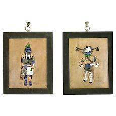Native American Hopi Kachina Long Hair & Avachhoya Tooled Leather Pair Wall Hangings Ray Briggs
