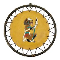 Native American Hopi Kachina Tooled Leather Circular Wall Hanging Signed David L. Young