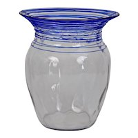 Steuben Glass Clear Optic Vase with Blue Threading Carder era