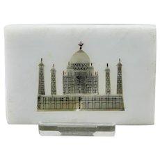 Pietra Dura Parchin Kari Taj Mahal Motif Plaque Tile Hard-Stone Mosaic Inlay India